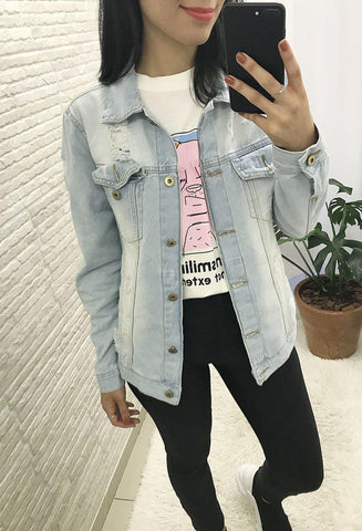 Jaqueta Jeans Clara Customizada Girl Boss