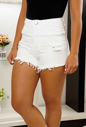 Shorts Jeans Branco Lady Rock