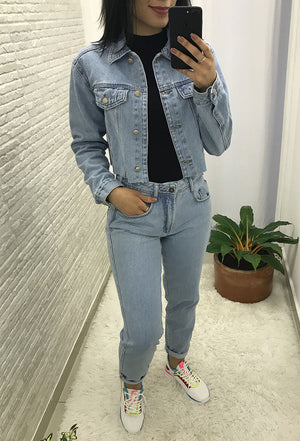 Jaqueta Jeans Cropped Clara Alcance