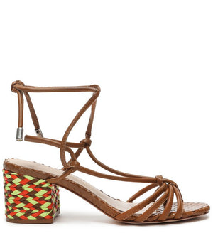 SANDÁLIA BLOCK HEEL TRAMA LACE-UP WOOD