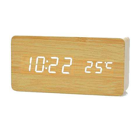 bamboo white Wooden Bamboo Alarm Clock