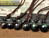 Natural Obsidian Rainbow Eye Pendant Necklace