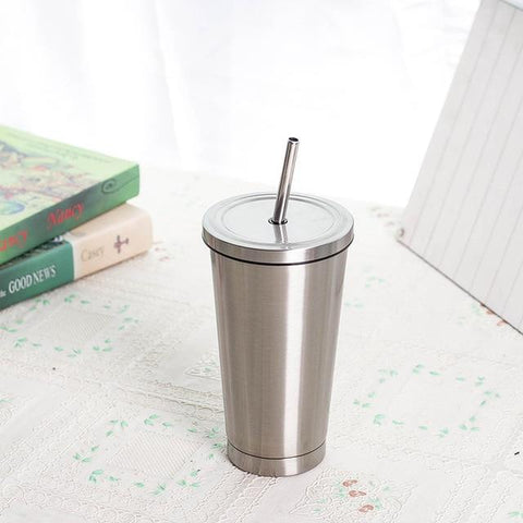 silver Portable Thermo Coffee Mug With Lid Straw