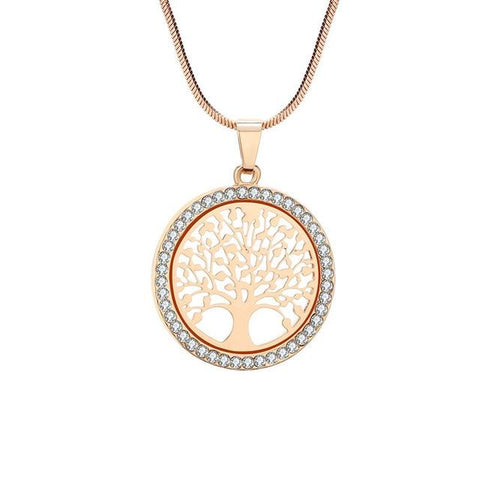 Gold Color Crystal Tree of Life Pendant Necklace