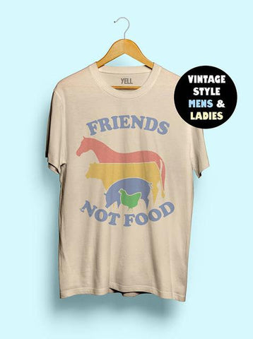 Beige / L Hillbilly Friends Not Food Vintage T-Shirt