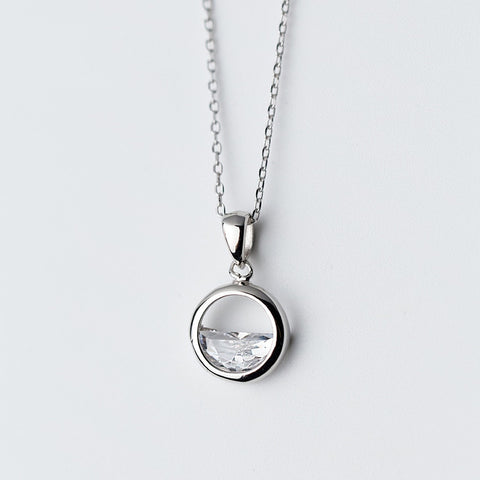 Sterling Silver Simple Round Pendant Necklace