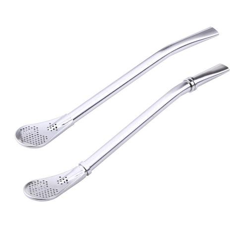 Eco Friendly Stainless Steel Bombilla Straw & Spoon Filter - gohuh
