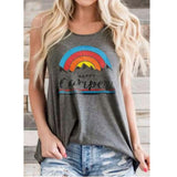 Gray / M Happy Camper Letter Print O Neck Tank Top