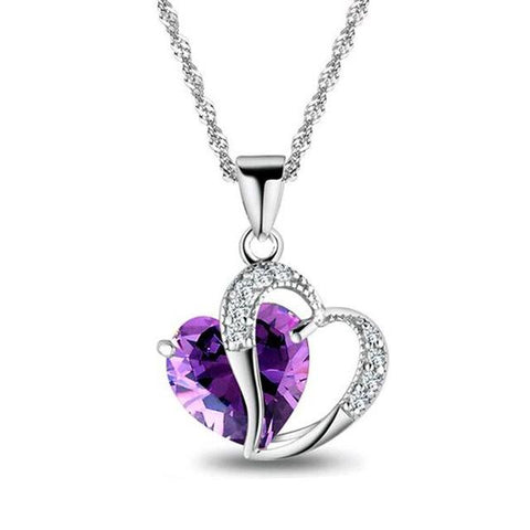 Purple Crystal Heart Pendant Necklace - 6 Different Colors