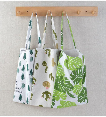 Eco Cotton Linen Foldable Tote Bag - gohuh