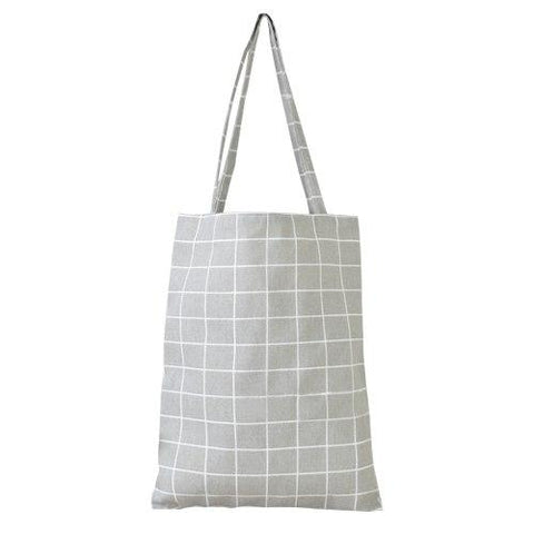 Grey Plaid Shopping Bag Eco Cotton Linen Foldable Tote Bag