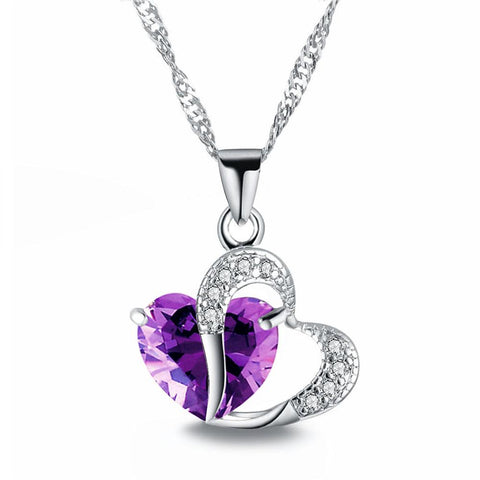 Crystal Heart Pendant Necklace - 6 Different Colors
