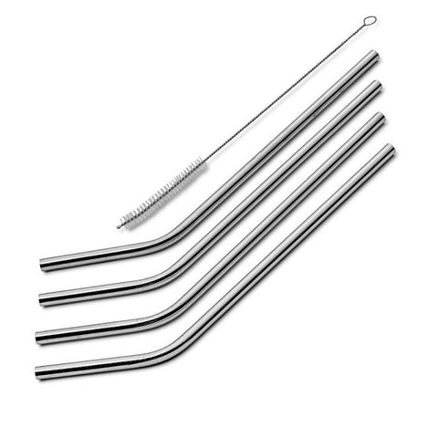 5 PCS Bent Reusable Stainless Steel Metal Straws