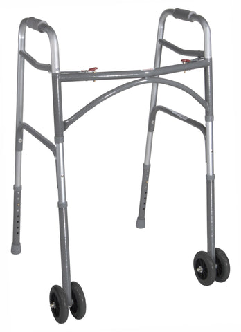 Bariatric Aluminum Folding Walker, Two Button (Wider & Deeper Frame Design) Heavy-Duty Wheels
