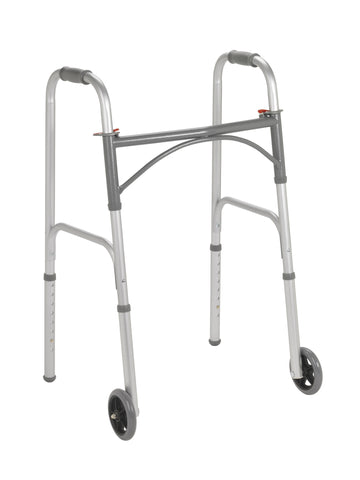 "Folding Junior Walker, Two Button with 5"" Wheels"