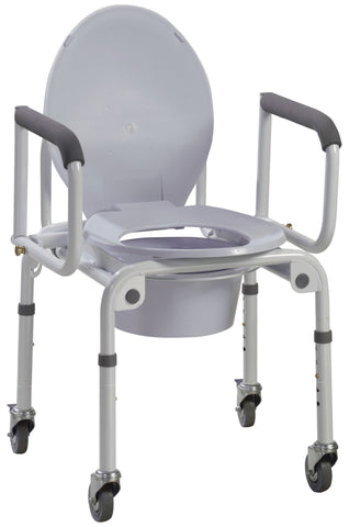 Steel Drop-Arm Commode with Wheels and Padded Armrests (Assembled)