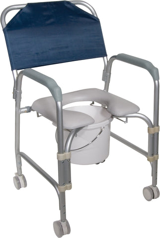 Aluminum Shower Chair and Commode with Casters (Knocked Down)