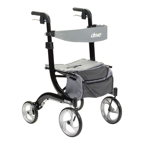 "Nitro Aluminum Rollator, 10"" Casters (Height Adjustable, Removable Back Support, Seat and Lever Locks)"