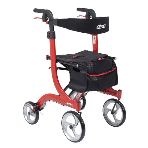 "Nitro Aluminum Rollator, Tall Height, 10"" Casters (4 Wheel Rollator)"