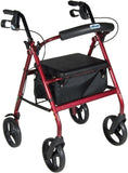 "Aluminum Rollator, 7.5"" Casters (Fold-Up and Removable Back Support, Flip-Up Seat, Removable Wheels, Loop Locks)"