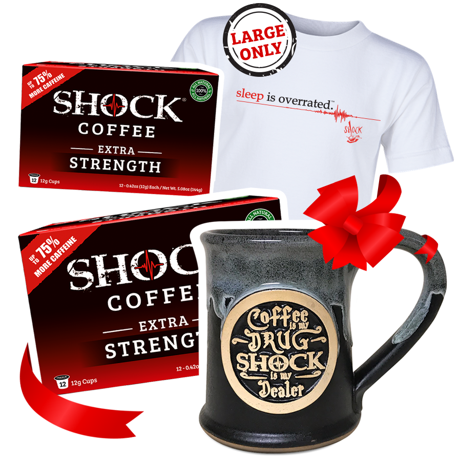The Ultimate Buzz Gift Bundle: Extra Strength 24 Cup Box, 14OZ Mug & Vintage Tee