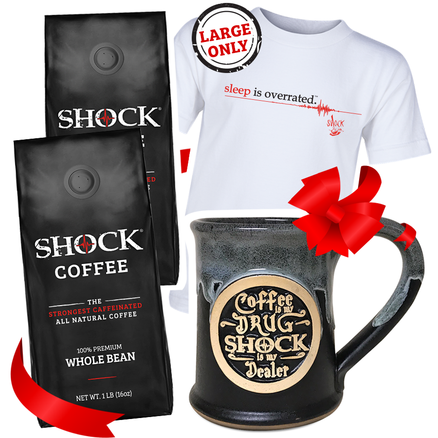 The Ultimate Buzz Gift Bundle: 2LB Whole Bean, 14OZ Mug & Vintage Tee