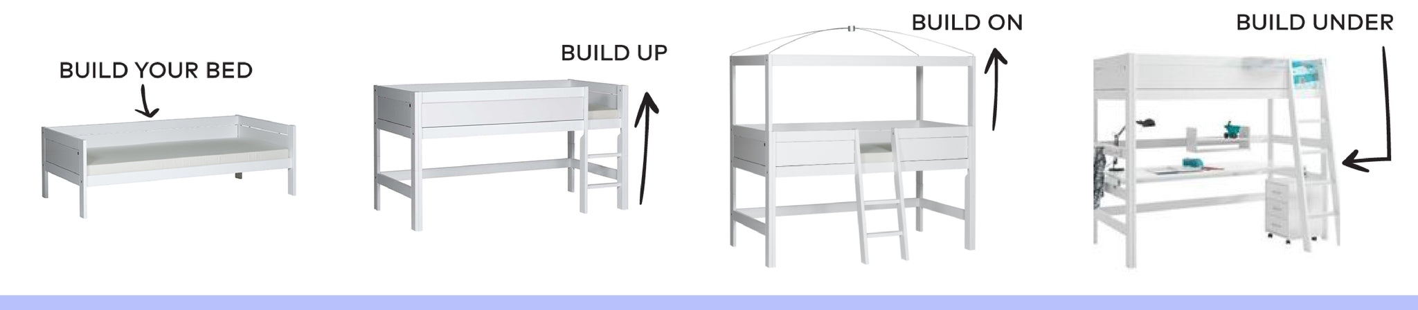 Lifetime bed system, build your kids bed up, above and under.