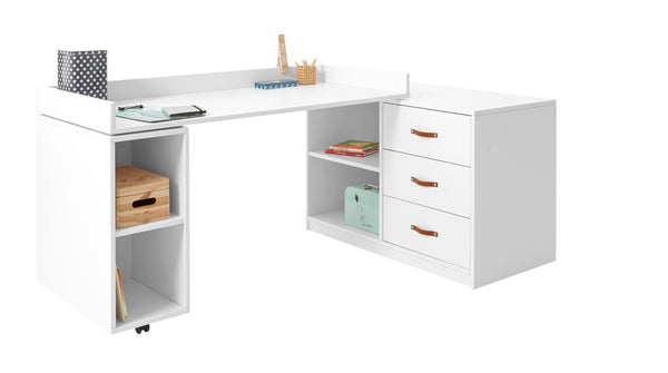 Kids Cabinet with Turning Desk in White with 3 drawers - Huckleberry Kids Rooms