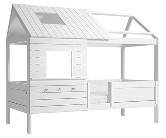 Silversparkle-Low-Kids-Cottage-Bed-with-rooftop-all-in-white-non-toxic-solid-wood-by-Lifetime-Kidsrooms-sold-by-Huckleberry-Kids-Rooms