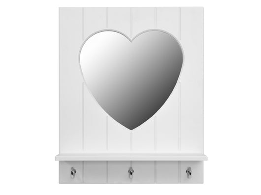 Silversparkle white mirror with heart, shelf and hooks - Huckleberry Kids Rooms