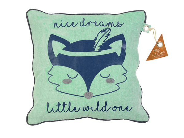 Forest Ranger Square Cushion with Fox print and saying: nice dreams little wild one - Huckleberry Kids Rooms