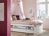 Kids Cabin Bed with Trundle drawer in White with flowers bedding and pink canopy, for girls room - Huckleberry Kids Rooms