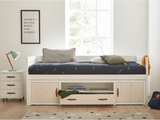 Kids Cabin Bed with storage doors and drawer, made of eco-friendly, non-toxic, solid wood, with paper airplane bedding, sold by Huckleberry Kids Rooms.