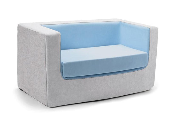 Cubino kids loveseat couch in blue and grey - Huckleberry Kids Rooms