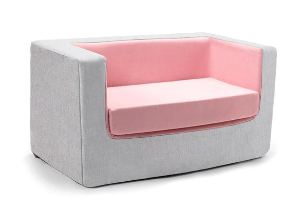 Cubino kids loveseat couch in pink and grey - Huckleberry Kids Rooms