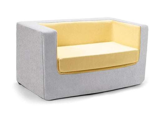 Cubino kids loveseat couch in yellow and grey - Huckleberry Kids Rooms