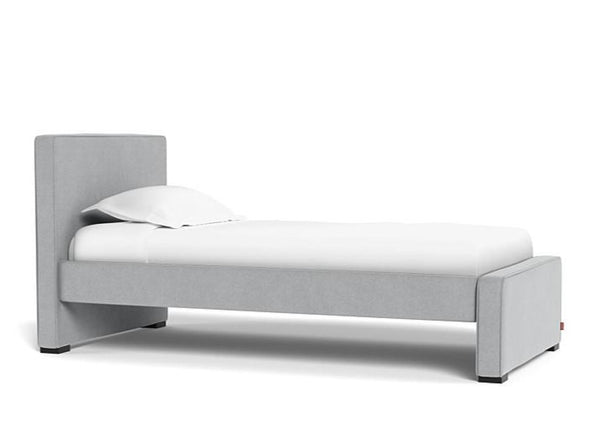 Dorma Kids Bed, in Nordic Grey upholstered fabric, US Twin size, with espresso feet, sold by Huckleberry Kids Rooms