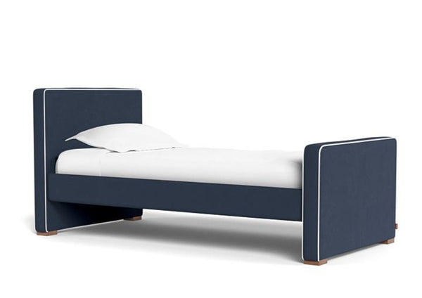 Dorma Jeane, Upholstered Kids Twin Bed, in Navy with White piping, sold by Huckleberry Kids Rooms