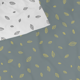 Kids bedding leaf print, closeup of fabric, Huckleberry Kids Rooms