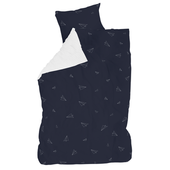 Kids bedding with paper airplane design, reversible duvet cover, made of cotton, dark blue and white, for boys room, sold by Huckleberry Kids Rooms.