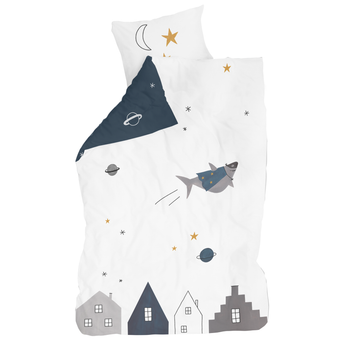 Kids bedding, Space Dreams, made of reversible cotton, with a white and navy print, for a boys room, sold by Huckleberry Kids Rooms