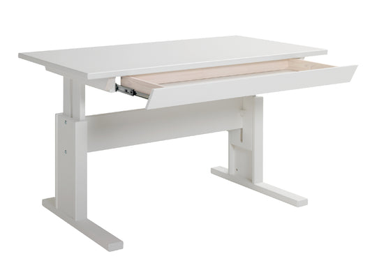 Kids wooden desk_Height adjustable in white_Huckleberry Kids Rooms