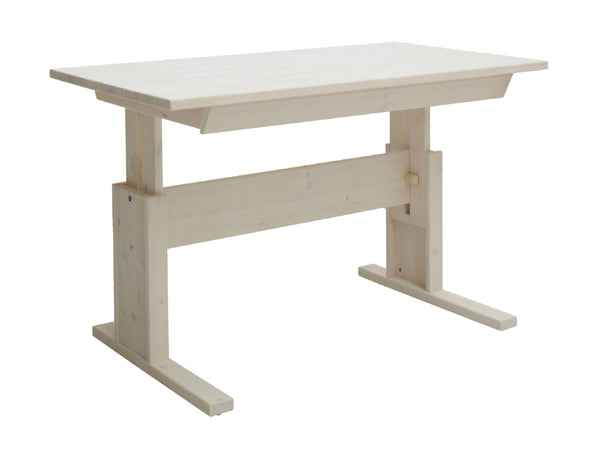 Kids wooden desk_Height adjustable in whitewash_Huckleberry Kids Rooms