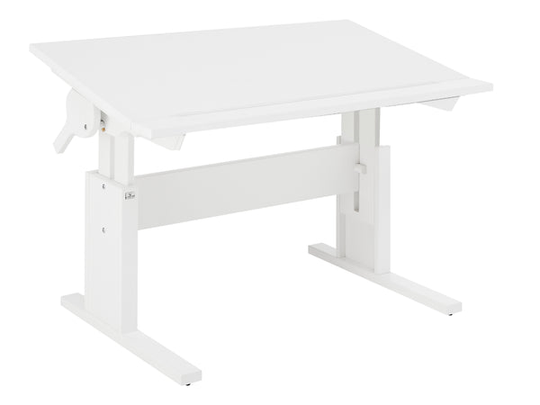 Kids Wooden Desk with desktop that tilts and raises in height, shown in White - Huckleberry Kids Rooms
