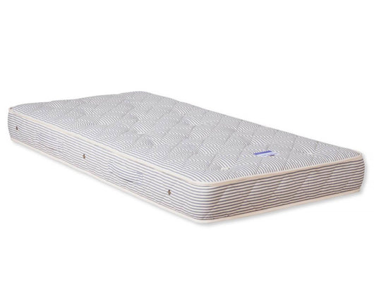NaturalMat-Teen-Mattress-with-marine-blue-striped-tufted-fabric-Huckleberry-Kids-Rooms