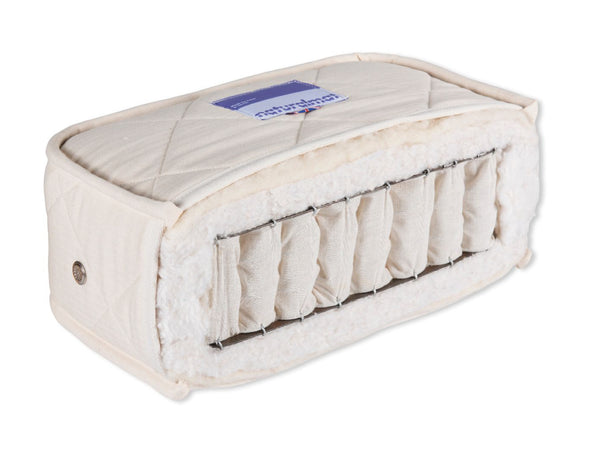 NaturalMat-Teen-Spring-Mattress-cross-section-with-organic-wool-and-cotton-with-Ivory-fabric-sold-by-Huckleberry-Kids-Rooms