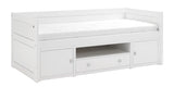 Kids Cabin Bed with Storage Cabinet in White - Huckleberry Kids Rooms