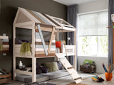 Treehouse Loft bed by Lifetime Kidsrooms, Boys Room, wooden bed with fun colors. Huckleberry Kids Rooms