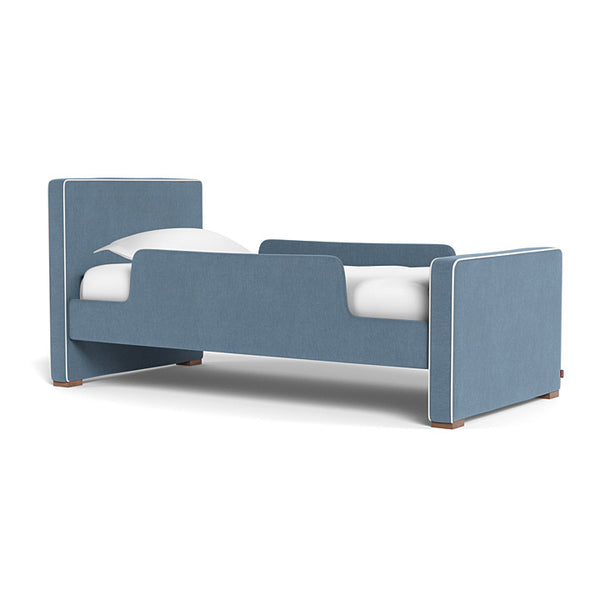 Dorma Kids Bed in denim blue with 2 toddler guard rails, sold by Huckleberry Kids Rooms