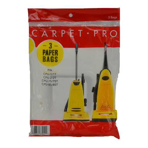 Carpet Pro Paper Bag Upright 3pk - Brilliant Vacuum